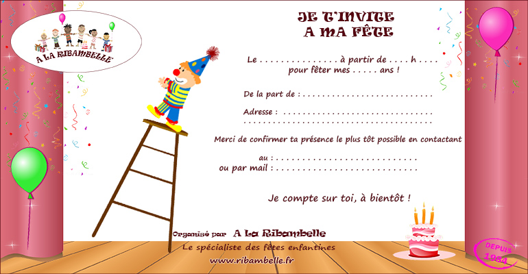 carton d'invitation clown