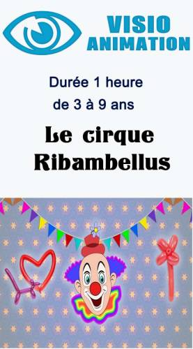 Animation enfant anniversaire Visio animation  3/9 ans  1 heure cirque Ribambelle